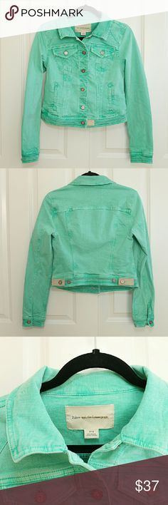 Anthropologie Pilcro and the Letterpress jacket S Anthropologie Pilcro and the Letterpress denim jacket.  Light green, No.S  Just like new condition! Anthropologie Jackets & Coats Jean Jackets