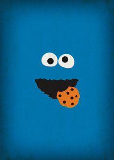Minimalist Sesame Street posters: Cookie Monster