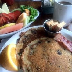 Blueberry pancakes & fresh fruit  Cafe Waterfront, Eureka, CA