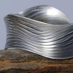 Eco Friendly Sterling Silver Cuff Bracelet Overlapping por Raminta, $125.00