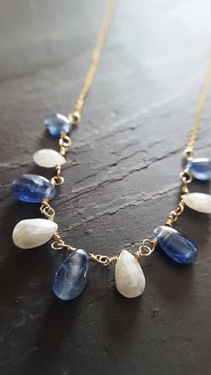 Gold And Blue Kyanite Necklace Gold Gemstone Necklace Real