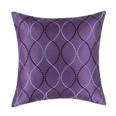 "Amazon.com - Euphoria Contempo Decorative Throw Pillow Cushion Covers Pillowcase Shell Faux Silk Light Purple Waves Embroidery 18"" X 18"" -"