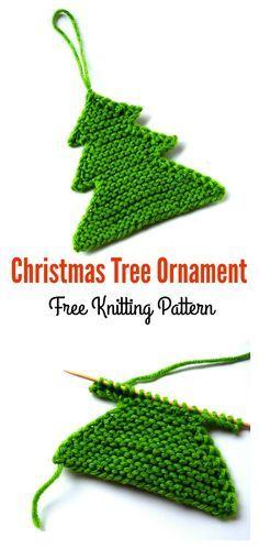 Christmas Tree Ornament Free Knitting Pattern #freepattern #knitting