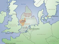Doggerland is the name of a vast plain that joined Britain to Europe for nearly… World History, Family History, Alexandre Le Grand, Art Rupestre, Historical Maps, Old Maps, Ice Age, North Sea, Sea Level