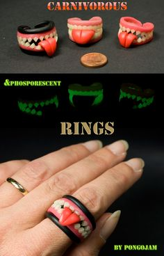 Carnivorous Halloween RINGS by pongojam.deviantart.com on @deviantART