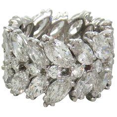 Important 1950s Platinum Diamond Wide Eternity Wedding Band Ring | From a unique collection of vintage more rings at http://www.1stdibs.com/jewelry/rings/more-rings/