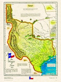 """Historical Texas Maps, series to include the """"3 Phases of Texas"""", 1836, 1845 &1850"""