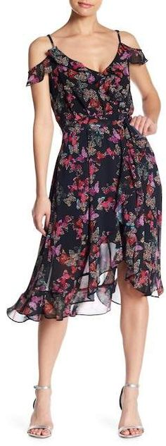 a1a38a27010e Betsey Johnson Floral Chiffon Wrap Dress