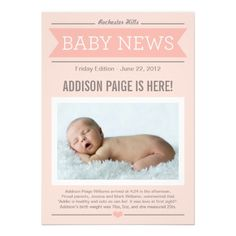 Big News Birth Announcement Cards | Blush Pink, Coral, and Gray Colors for Baby Girl Front Page Headline Newspaper Design #newborn #baby #babies #girl #girls #unique #birth #announcements #cards