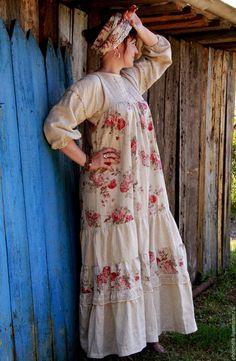 """Купить Платье в народном стиле """"Самоварное настроение"""" - бежевый, цветочный…"""