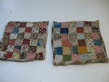 PAIR ANTIQUE HANDMADE PATCHWORK DOLLHOUSE BED QUILTS