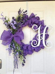 Spring Burlap Wreath - purple burlap ribbon, bow with purple flowers and monogram letter - love it!!