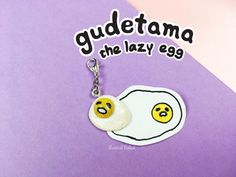 Cute Tiny Miniature Gudetama Lazy Egg Handmade Kawaii Polymer Clay Charm Phone plug/Keychain/Pendant for Bracelet and Necklace by KawaiiSekaiiWorkshop on Etsy