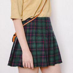 Evergreen Plaid Pleated Skirt
