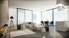 Penthaus Wohnung Minimalismus Innendesign Modern Indoor Kamin Verglasung 3d  Ando Studio