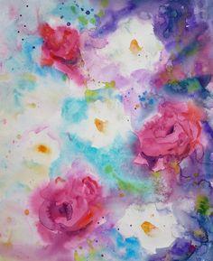 "Hand Painted Original Watercolour Painting by Nora MacPhail of beautiful loose flowers. $70/8""x10"" original. #watercolour, #art"
