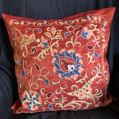 Uzbek Handmade Suzani Silk Pillowcase Shipped from USA New