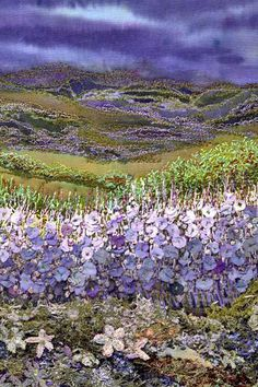 """Gilda Baron Embroidered Landscape  J'adore les couleurs. J'aurais pu mettre cette oeuvre dans mon tableau """"paysages où j'aimerais vivre""""."""