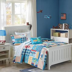 Mi Zone Kids Choo Choo Charlie Full Kids Bedding Sets for Boys - Blue, Parchwork Trains, Plane, Plaid - 8 Pieces Boy Comforter Set - Ultra Soft Microfiber Kid Childrens Bedroom Comforters Twin Comforter Sets, Kids Bedding Sets, Bedroom Comforters, Console, Choo, Bed In A Bag, Twin Sheet Sets, Blue Bedding, Cotton Bedding