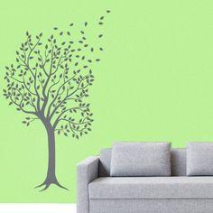 Autocollant mural flore arbre dans le vent