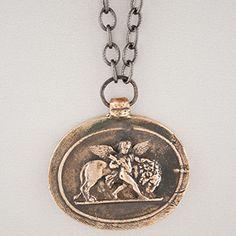 Pyrrha Design Lion and Cherub Intaglio Necklace 22'' - handcrafted reclaimed bronzed