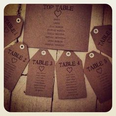 Homemade Manilla Kraft Brown Wedding TABLE PLAN luggage tags MADE TO ORDER
