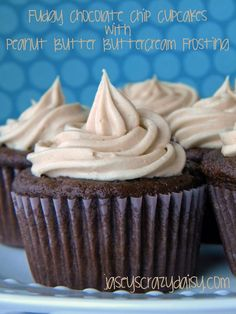 Fudgy Chocolate Chip Cupcakes with Peanut Butter Buttercream Frosting   Jasey's Crazy Daisy