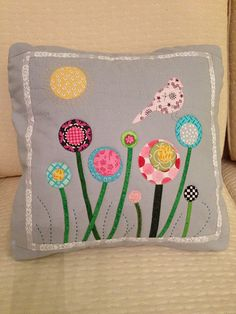 Great pillow with hand quilting and fun appliqué work