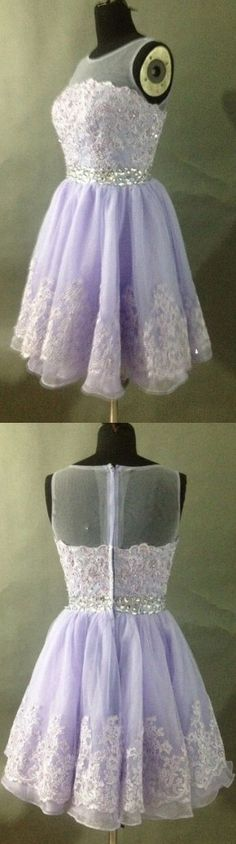 Lavender Homecoming Dress,Lace Homecoming Dresses,Short Prom Gown,Homecoming Gowns,Homecoming Dress - 156