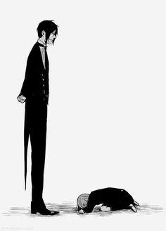 Sebastian and Ciel - Black Butler - Kuroshitsuji Grell Black Butler, Black Butler Sebastian, Black Butler Kuroshitsuji, Sebastian X Ciel, Sebaciel, Ciel Phantomhive, Blue Exorcist, Animes Wallpapers, Monochrome