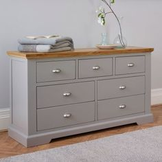For my Home Natural Oak & Gray Painted Chest of Drawers - Chest of Drawers - St. Oak Furniture Land, Painted Bedroom Furniture, Grey Furniture, Living Furniture, Furniture Decor, Furniture Repair, Furniture Dolly, Wooden Furniture, Grey Chest Of Drawers