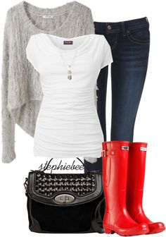 """""""Red Boots"""" by stephiebees. Fall Winter Outfits, Autumn Winter Fashion, Red Boots, Red Wellies, Hunter Boots, Red Hunter, Fashion Outfits, Womens Fashion, Passion For Fashion"""