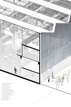 Competition 12 - Interdisciplinary Pole dedicated to Cultures Collage Architecture, Industrial Architecture, Architecture Graphics, Architecture Visualization, Architecture Student, Architecture Drawings, Concept Architecture, Facade Architecture, Warehouse Design