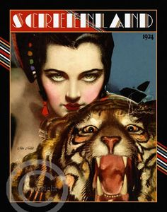 Beautiful Art Deco Classic Icon Nita Naldi Femme Fatale Vamp with Tiger by Rolf Armstrong Screenland 1924  Giclee Fine Art Print 11x14 (DragonflyMeadowsArt)