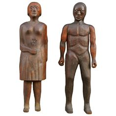 Large Scale Hand Carved Wooden Folk Art Figures, American, 20th century.  Artist: Kenneth Anthony Krogmeir. Mr. Krogmeir was a dairy farmer from Fort Madison, Iowa. He also owned a small sawmill that he operated for personal use and for milling wood for neighbors. Mr. Krogmeir started carving in 1934 at the age of 11 years old.