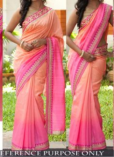 New Light Pink Orange Padding Georgette Designer Saree