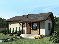 Kit casa lemn 62 mp Brasov • OLX.ro American Style House, Facade House, Design Case, Spanish Style, Bungalow, Tiny House, Gazebo, Building A House, House Plans