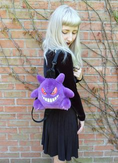 Vintage Retro 90s Plush Club Kid Gengar Ghost Pokemon Kids Backpack Rucksack Bag