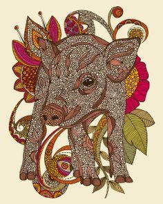 Paisley Piggy Art Print
