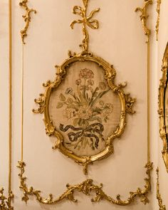 "Detail of the wall paneling in The ""Breakfast Room"" in Schönbrunn Palace, Vienna, Austria"