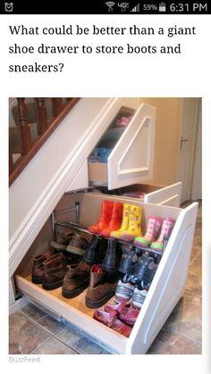 Under stair shoe rack