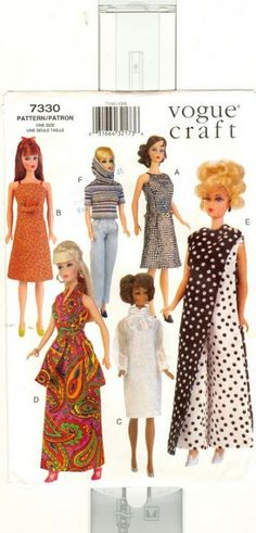 Barbie Dolls : Free Copy of Pattern – Vogue 7330 Sewing Barbie Clothes, Barbie Sewing Patterns, Doll Dress Patterns, Vogue Patterns, Clothing Patterns, Patron Vintage, Barbie Dress, Barbie Doll, Barbie Outfits