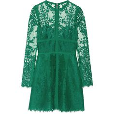 Elie Saab Lace mini dress (£2,100) ❤ liked on Polyvore featuring dresses, vestidos, elie saab, green dresses, green, mini, green pleated dress, short lace dress, elie saab dresses and lace panel dress