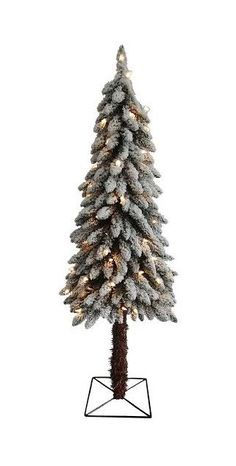 4' Pre-Lit Flocked Alpine Artificial Christmas Tree - Clear Lights