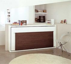 The Poppi 90 Desk is a horizontally opening single bed with fold-down desk on the front panel.