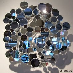 Mirrors help redirect chi energy Mirror Tiles, Mirror Art, Mirror Image, Unique Mirrors, Round Mirrors, Mirror Centerpiece, Blue Rooms, Room Themes, Op Art