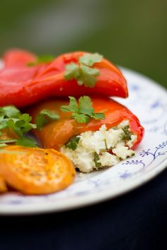 Greek food: peppers  stuffed with feta and couscous