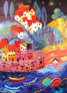 Harbour Night, mixed media, Sara Mead Love how the landscape is built up on hills- reminds me of Seattle :)