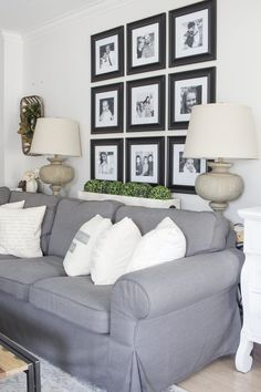 Pitfall Of Farmhouse Decor Living Room Wall Behind Couch 85 - Homegoodinspira Wall Behind Couch, Above Couch Decor, Gallery Wall Living Room Couch, Living Room Wall Decor Ideas Above Couch, Family Room Walls, My Living Room, Living Spaces, Farmhouse Decor, Farmhouse Style