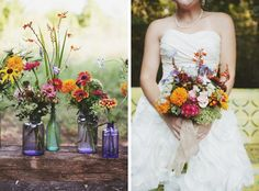 Gorgeous wildflowers in coloured bottles